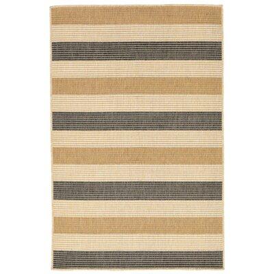 Valero Stripe Beige/Gray Indoor/Outdoor Area Rug Rug Size: Square 710