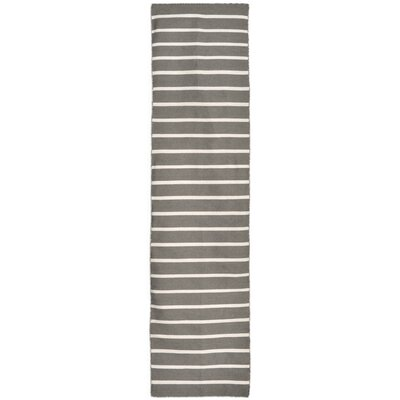 Ranier Pinstripe Hand-Woven Grey Indoor/Outdoor Area Rug Rug Size: 36 x 56
