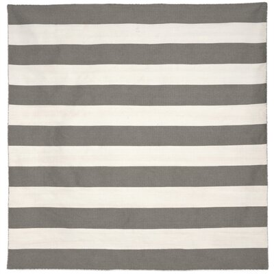 Torington Rugby Stripe Hand-Woven Grey Indoor/Outdoor Area Rug Rug Size: Square 8