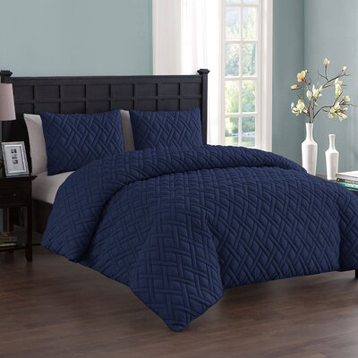 Woodbridge 3 Piece Duvet Set Color: Navy, Size: Queen