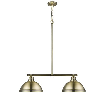Bodalla 2-Light Kitchen Island Pendant Finish: Aged Brass, Shade Color: Aged Brass