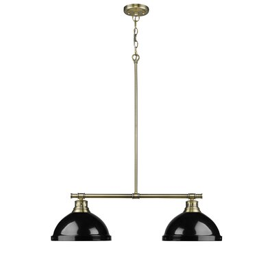 Bodalla 2-Light Kitchen Island Pendant Finish: Pewter, Shade Color: Blue
