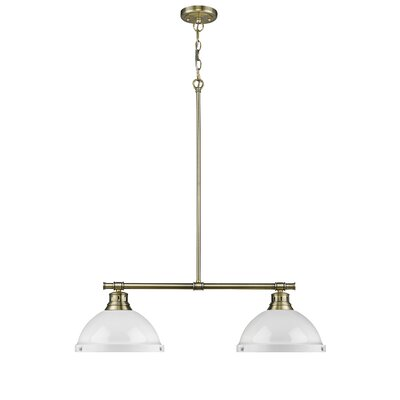 Bodalla 2-Light Kitchen Island Pendant Shade Color: White, Finish: Aged Brass