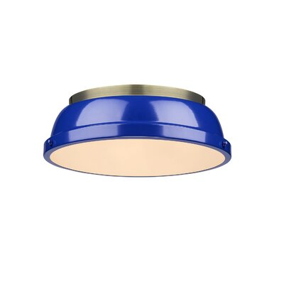 Bodalla 2-Light Dome Flush Mount Shade Color: Blue, Finish: Pewter