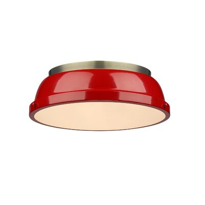 Bowdoinham 2-Light Flush Mount Shade Color: Red, Finish: Aged Brass