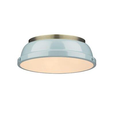 Bowdoinham 2-Light Flush Mount Shade Color: Seafoam, Finish: Aged Brass
