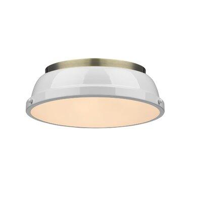 Bowdoinham 2-Light Flush Mount Shade Color: White, Finish: Aged Brass