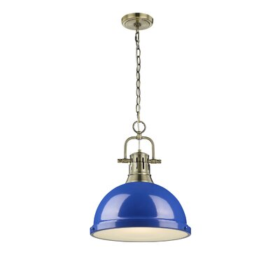 Bowdoinham 1-Light Bowl Pendant Finish: Aged Brass, Shade Color: Blue