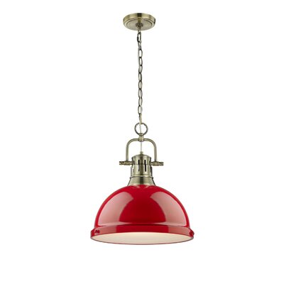 Bodalla 1-Light Bowl Pendant Finish: Aged Brass, Shade Color: Red
