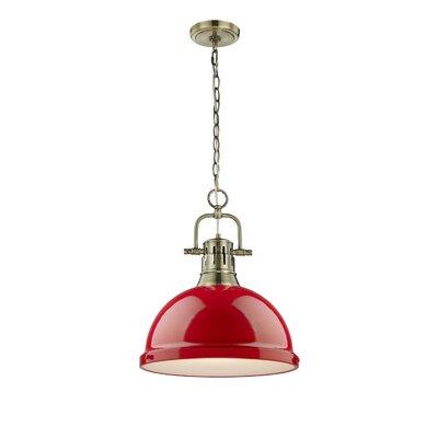 Bowdoinham 1-Light Bowl Pendant Finish: Aged Brass, Shade Color: Red