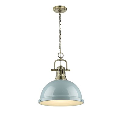 Bodalla 1-Light Bowl Pendant Finish: Aged Brass, Shade Color: Seafoam