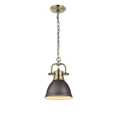 Bodalla 1-Light Bowl Mini Pendant Shade Color: Rubbed Bronze, Finish: Aged Brass