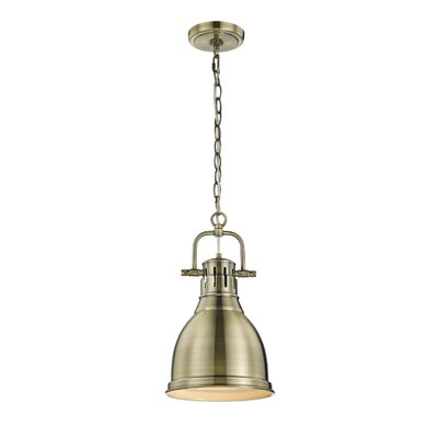 Bowdoinham 1-Light Mini Pendant Finish: Aged Brass, Shade Color: Rubbed Bronze