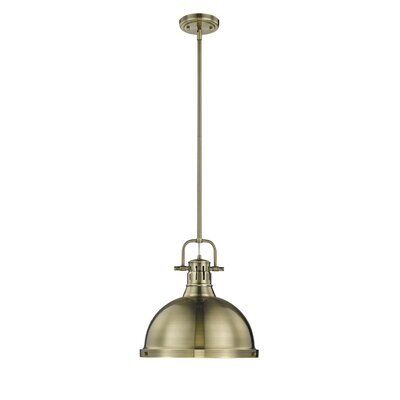 Bodalla 1-Light Metal Mini Pendant Finish: Aged Brass, Shade Color: White, Size: 13.5 H x 8.875 W