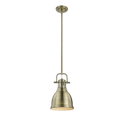 Bodalla 1-Light Metal Mini Pendant Finish: Aged Brass, Shade Color: Aged Brass, Size: 14.25 H x 8.875 W