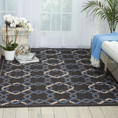 Kittrell Charcoal/Blue/Gray Indoor/Outdoor Area Rug Rug Size: 53 x 75