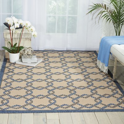 Kittrell Ivory/Blue/Gray Indoor/Outdoor Area Rug Rug Size: 93 x 129