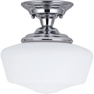Panacea Traditional 1-Light Semi Flush Mount Color: Chrome, Size: 11.75 H x 11.5 W x 11.5 D