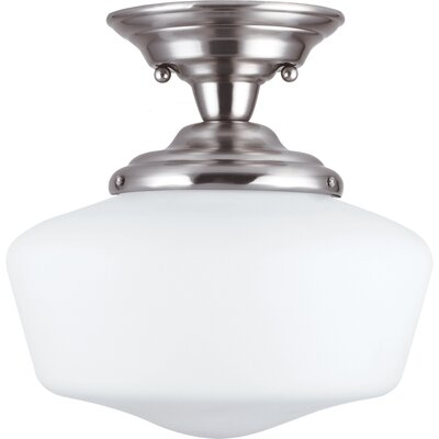 Northport 1-Light Semi Flush Mount Size: 11.75 H x 11.5 W x 11.5 D, Finish: Brushed Nickel