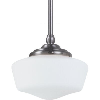 Panacea 1-Light Glass Shade Pendant Color: Brushed Nickel, Bulb Type: 60 W Line Medium