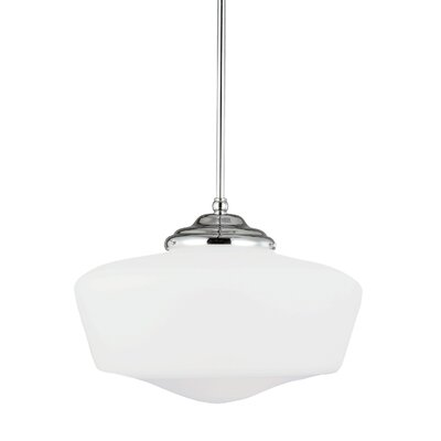 Panacea 1-Light LED Schoolhouse Pendant Finish: Chrome, Size: Large