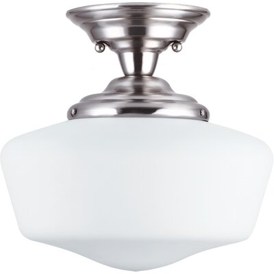 Panacea Traditional 1-Light Semi Flush Mount Color: Brushed Nickel, Size: 12 H x 13 W x 13 D