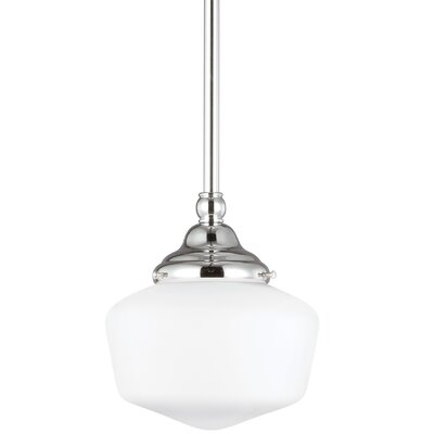 Panacea 1-Light Schoolhouse Pendant Color: Chrome, Size: 9.75 H x 11.5 W x 11.5 D