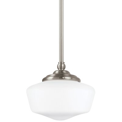 Panacea 1-Light Schoolhouse Pendant Finish: Brushed Nickel, Size: 9.75 H x 11.5 W x 11.5 D