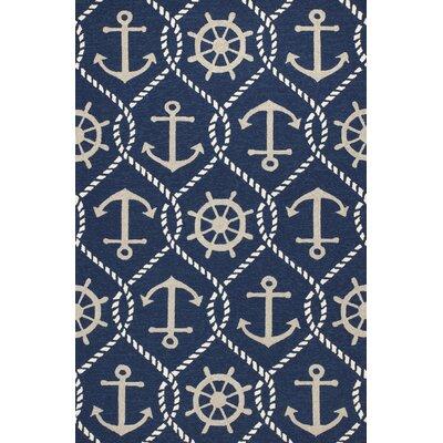 Glynn Handmade Navy Indoor/Outdoor Area Rug Rug Size: 5 x 76