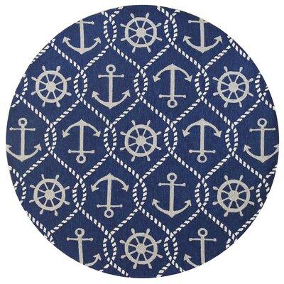 Glynn Handmade Navy Indoor/Outdoor Area Rug Rug Size: Round 76