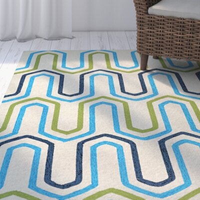 Breakwater Bay Marshfield High Tide Hand-Woven Ivory/Blue Area Rug