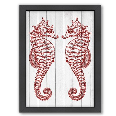 Double Seahorse Wood Crimson Framed Graphic Art