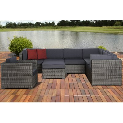 Caroline Marseille 8 Piece Deep Seating Group with Cushions Fabric: Grey