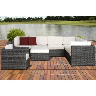 Caroline Marseille 8 Piece Deep Seating Group with Cushions Fabric: Off-White