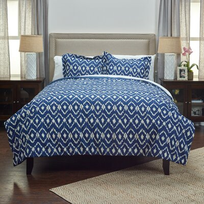 Lilly 3 Piece Comforter Set Size: King, Color: Natural Indigo