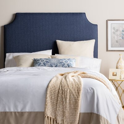 Stamford Roselle Upholstered Panel Headboard Size: Full, Upholstery: Navy Blue