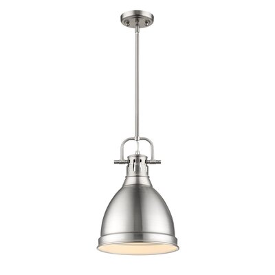 Bodalla 1-Light Metal Mini Pendant Finish: Pewter, Shade Color: Pewter, Size: 14.125 H x 14 W