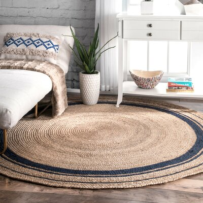Somers Beige/Denim Area Rug Rug Size: Round 8