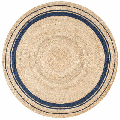 Somers Beige/Denim Area Rug Rug Size: Round 6