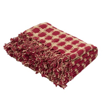 Corea Handloom Transitional Cotton Throw Blanket Color: Red