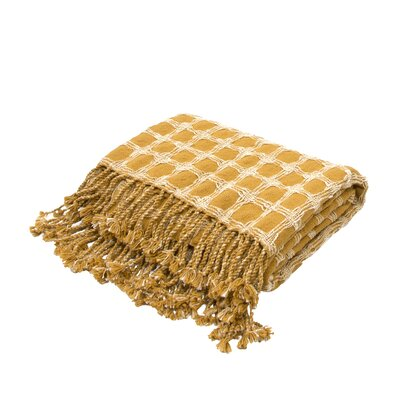 Corea Handloom Transitional Cotton Throw Blanket Color: Yellow