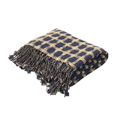 Corea Handloom Transitional Cotton Throw Blanket Color: Blue