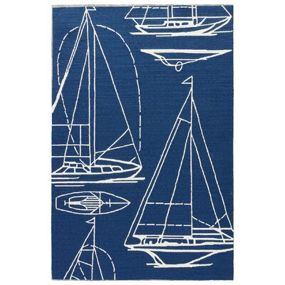 Sandtown Insignia Blue Indoor/Outdoor Area Rug Rug Size: Rectangle 5 x 76