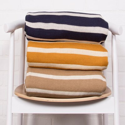 Breakwater Bay Sebastian Handloom Striped Cotton Throw Blanket