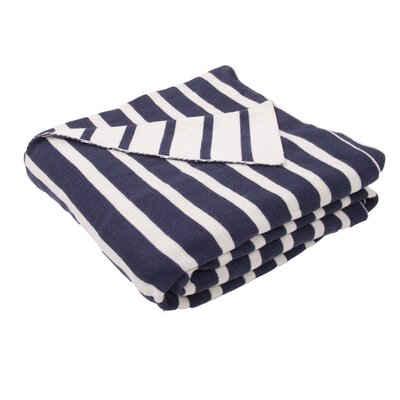 Sebastian Handloom Striped Cotton Throw Blanket Color: Blue / Ivory