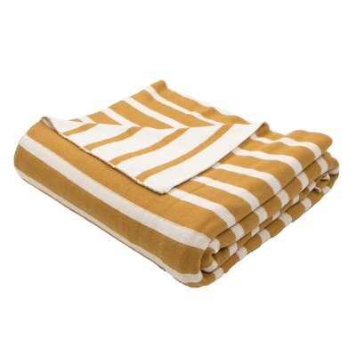 Sebastian Handloom Striped Cotton Throw Blanket Color: Yellow / Ivory