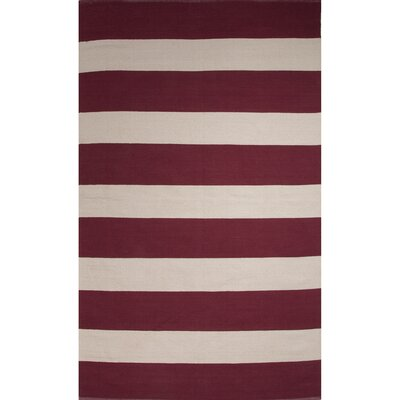 Breakwater Bay Taft Cotton Flat Weave Red/White Area Rug