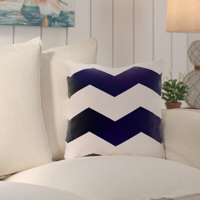 Shrewsbury Chevron Stripes Geometric Outdoor Throw Pillow Size: 18, Color: Navy