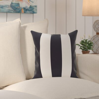 Caymen Stripe Print Throw Pillow Size: 18 H x 18 W x 1 D, Color: Navy Blue