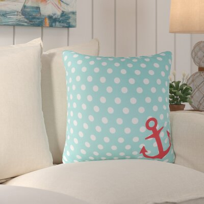 Sweetwood Anchored in Polka Dots Outdoor Throw Pillow Size: 20 H x 20 W x 4 D, Color: Sky Blue/Ivory